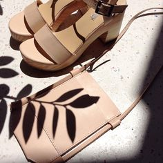 Neutral leather accessories.