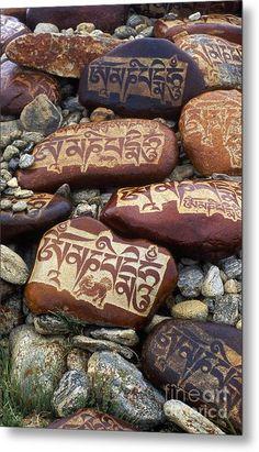 Mani Stones Lake Manasarovar - Tibet Metal Print by Craig Lovell