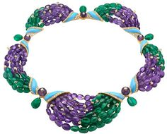 BVLGARI necklace in yellow gold with turquoises, amethysts, emeralds and diamond pave