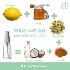 Natural spray to lighten hair - Food & Beverage - Accesorios para Cabello Pelo Natural, Natural Hair Care, Natural Hair Styles, Belleza Natural, Natural Curls, Castor Oil For Hair, Hair Oil, Tips Belleza, Belleza Diy
