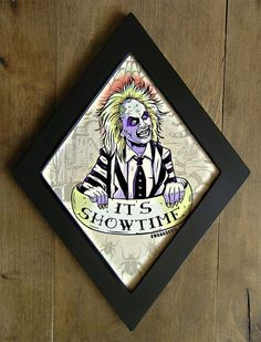 It's Showtime by bwanadevilart tattoos beetlejuice Beetlejuice Diamond framed print. Beetlejuice Tattoo, Halloween Horror, Fall Halloween, Halloween Queen, Halloween Wreaths, Halloween Signs, Frankenstein, Goth Home, Bedroom Decor