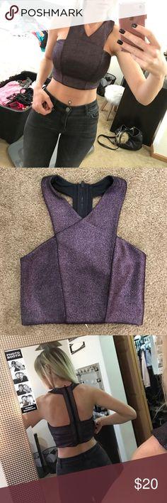 Dark purple metallic crop top Dark purple metallic crop top - never worn, still has tag on it! Zip up back Express Tops Crop Tops