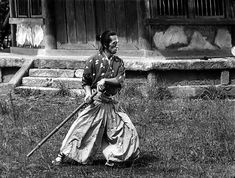 Seiji Miyaguchi as the master swordsman samurai Kyuzo, concentrating in the 1954 'The Seven Samurai' (Kurosawa) A few moments later he will repeat the same movement with a katana for what is perhaps the shortest sword duel in film history.