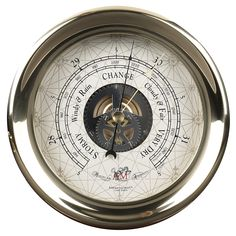Authentic Models Captain's Large Barometer in Brass