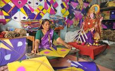 Indian Kites with geometric patterns