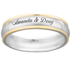 two tone wedding bands for him and her | ... Silver Top-Engraved Name/Message Two-Tone Wedding Band at Limoges