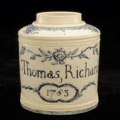 tea canister -CAMBRIAN POTTERY Date: 1783 Media: creamware Size: h ...