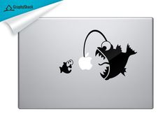 Angler Fish Catching Small Fish - Funny Cartoon Decal for Mac, Dell and Other Laptop