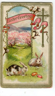 Reserved for N - Easter postcard - Easter Bunny Rabbits , Easter eggs, cross…