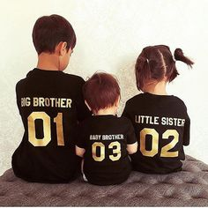 Big brother, Little brother, Baby brother, Big sister, Little sister, Matching shirts for siblings  *Need to customize this set of t-shirts? Sure! You can customize its numbers and/or whether the text is on the t-shirts front or back. We LOVE doing custom design for our customers. Just please insert your custom request in the notes to the seller when checking out. Thank you!   You might also be interested in:  Big Man, Little Man matching shirts : http://etsy.me/1TAbtQL Player 1, Player 2…