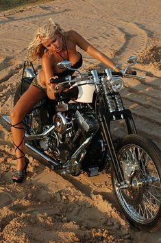 The Lost Photographs of Brass Balls' Biker Chick - Megan Harley Bikes, Harley Davidson Bikes, Lady Biker, Biker Girl, Motard Sexy, Moto Biker, Biker Baby, Chicks On Bikes, Motorbike Girl