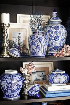 Blue and white temple jars like these little gems from Pier 1 have been a staple of designers since designers have had staples. Crafted of fine ceramic and hand-painted in the traditional Ming Dynasty style, this look is a timeless classic