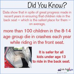 It is safer for all children under the age of 13 to ride in the back seat.