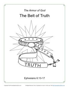 Belt of Truth Coloring Page - Armor of God for Kids