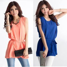 CC351# Blouses For Women 2013 Summer Casual Batwing Tops Shirt Sleeveless Loose Chiffon Blouse Retail & Wholesale