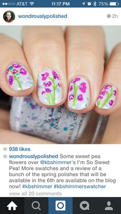 Sweet Pea Flower nails