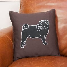 This chocolate brown rayon corduroy features a sweet black pug applique.  The pug is made of a plush black fleece and features custom embroidery detailing.  The pillow cover features a hidden zipper.  As the pillow cover is rayon, I would recommend cold water gentle cycle or hand wash. Please note that this listing is for the pillow cover only. I do have pillow inserts available for purchase with this cover. The pillow form measures 16 x 16 and this cover is made to fit it perfectly.We can…