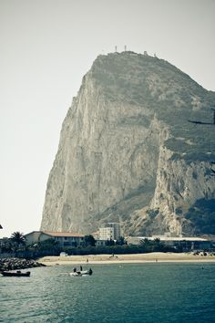 The rock of Gibraltar ....the southern most point if Spain. You can see morroco across the straight where the Mediterranean and the Atlantic meet.