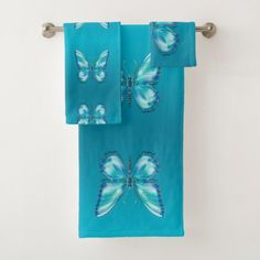 Shop Turquoise butterfly bath towel set created by floweraroma. Personalize it with photos & text or purchase as is! Turquoise Bathroom, Blue Wings, Soap Dispensers, Modern Bathroom Decor, Personalized Note Cards, Bath Towel Sets, Washing Clothes, Shower Curtains, Hand Towels