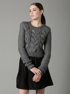 Chunky Knitting Style Cropped Cable Knit Sweater Click here to see ...