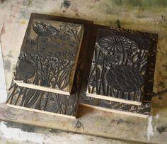 Wood engraving blocks by Angie Lewin. www.angielewin.co.uk. Tags: Linocut, Cut, Print, Linoleum, Lino, Carving, Block, Woodcut, Helen Elstone, Lucienne Day, Flowers, Seeds, Pattern, Leaves.