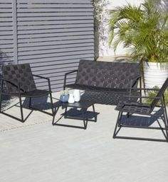 silba metal 4 seater coffee set black 5052931263165 55 black garden furniture