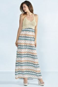 Printed maxi dress www.exxesfashion.com