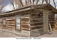 Log cabin with lantern in the Montana ghost town of Nevada City