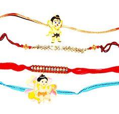 Set of 4 Rakhi Bracelets to USA - Raksha Bandhan Rakhi * More info could be found at the image url.