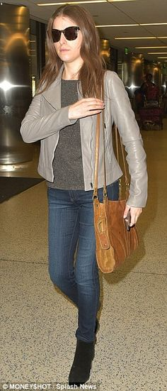 Jet set star: Later that day, Anna was seen casually dressed and make-up free as she arriv...