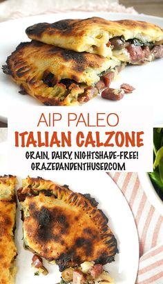 AIP Italian Calzones - grain-free dairy-free paleo made from sweet potatoes! Dieta Aip, Autoimmun Paleo, Paleo Pizza, Vegetarian Paleo, Whole Food Recipes, Diet Recipes, Whole30 Recipes, Entree Recipes, Recipies