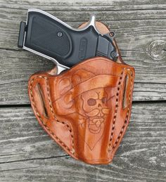 Leather Pancake Holster w/ Custom Tooling by RedWolfCustomLeather