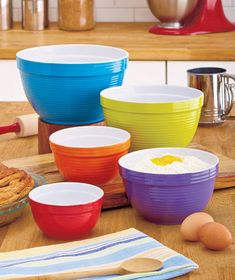 Colorful 5-Pc. Stoneware Mixing Bowl Sets