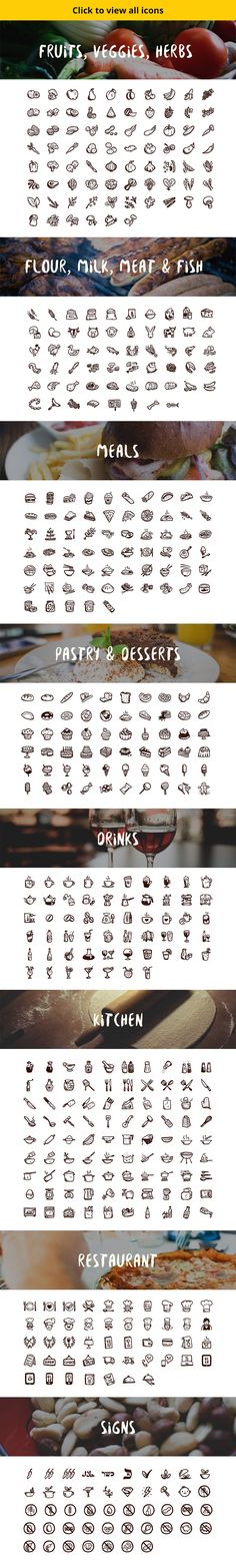 500 hand-drawn food icons including: fruits, vegetables, meals, dairy, meat, fish, pastry, desserts, and drinks.
