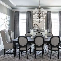 When layering different shades of gray make sure they all have the same undertone. #formaldiningroomideas