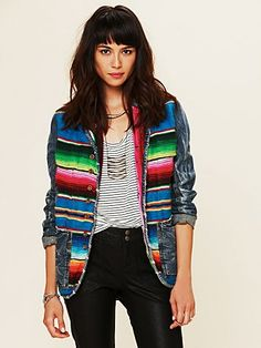 Free People Mexican Blanket Jacket- can't wait to wear this with neutral printed shirt and black skinny jeans + boots - Mexican Jacket Mexican Fashion, Mexican Style, Mexican Outfit, Skinny Jeans With Boots, Blanket Jacket, Free People Clothing, Free People Jacket, Mode Style, Outerwear Jackets