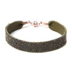 She.Rise Bangle Bracelet, Olive Dorado. Olive green leather bracelet encrusted with bronze and silver metallic crystals and copper magnetic clasp. Italian Leather, Swarovski Crystals and Copper Magnets. Handmade in USA. $50