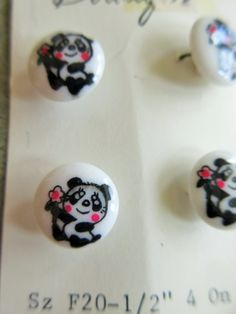 Vintage Panda Buttons, Bear Buttons, Four on Card, Plastic Bear Buttons, Plastic Buttons, Boutique Brand, Cute Kawaii Zakka Vintage Sewing by sewbettyanddot on Etsy