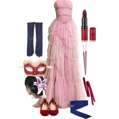 Masquerade Ball: Mulan by kailyn-designs on Polyvore featuring polyvore, mode, style, Masquerade, Cole Haan, Maison Margiela, BCBGMAXAZRIA, Rimmel, Christofle and Us Angels