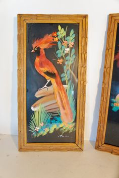 Beautiful Pair Feathercraft Vintage Bird Feather Art Pictures Mexico Framed Tropical  Vintage Souvenir Hand Carved Cedar Frames