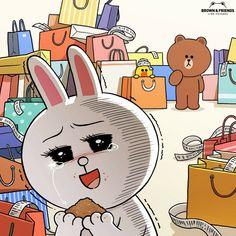 Cute Couple Cartoon, Cute Love Cartoons, Cony Brown, Brown Bear, Line Cony, Melody Hello Kitty, Kakao Friends, Bunny And Bear, Wallpaper Gallery