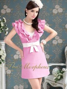 Morpheus Boutique  - Pnk V Neck  Ruffle Collar Bow Shoulder Belted Dress