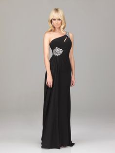 Draping One Shoudler Beading Black Prom Dress