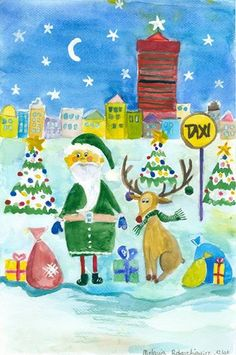 Św. Mikołaj w barwach UEP! Rysunek 12-letniej Melanii Robaszkiewicz będzie na oficjalnej kartce świątecznej naszej Uczelni. Praca wyłoniona została drogą konkursową.