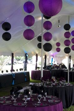 28 Beautiful Purple Party Theme Design For Wedding Reception Look More Luxury Purple Black Wedding, Purple And Black, Purple Birthday Decorations, Wedding Decorations, Decor Wedding, Table Decorations, Lila Party, Nightmare Before Christmas Wedding, Black Lantern