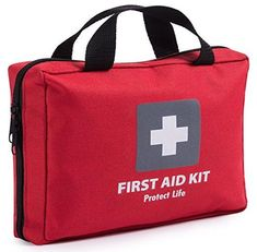 First Aid Kit for Car Home Traveling Camping Office or Sports 200 pieces red bag w reflective cross fully equipped with medical supplies for Emergency and Survival * You can find out more details at the link of the image. Camping First Aid Kit, Emergency First Aid Kit, Emergency Survival Kit, Outdoor Survival, Survival Tips, Wilderness Survival, Survival Skills, Camping Checklist, Camping Gear