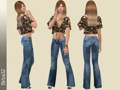 The Sims Resource: Hippie jeans Patches by Birba32 • Sims 4 Downloads