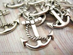 Anchor Charms, 10pc Antique Silver Nautical Boat Anchors, 23x21 on Etsy, $2.38