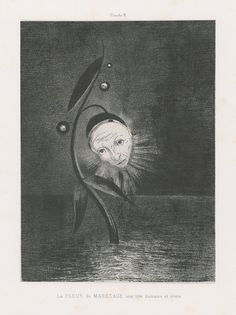 """symbolism-art: """" Flower of the swamp, a head human and sad, Odilon Redon Size: cm Medium: lithography on paper"""" Odilon Redon, Human Head, Visual Diary, Drawing Techniques, Drawing Tips, Sketching Tips, Drawing Ideas, Illustrations, Surrealism"""