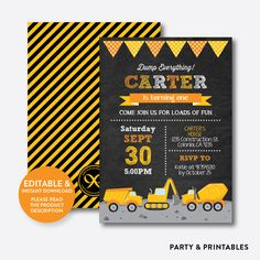 Construction Chal... http://partyandprintables.com/products/construction-chalkboard-kids-birthday-invitation-editable-instant-download-ckb-200b?utm_campaign=social_autopilot&utm_source=pin&utm_medium=pin #partyprintables #birthdayinvitation #partysupplies #partydecor #kidsbirthday #babyshower